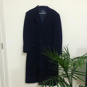 100% Wool Burberry Navy Long Trench Coat